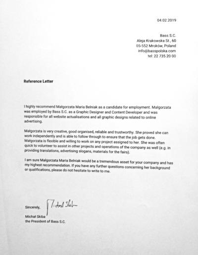 Reference Letter / Bass S.C. / www.basspolska.com